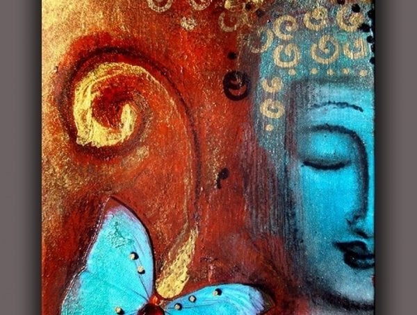 Blue-faced Buddha with butterfly and red background