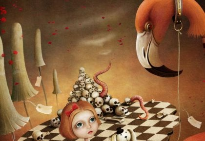 Drawing girl with flamingo on leash chess board, skulls, worms in the background