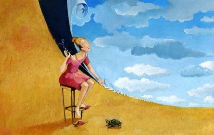 Drawn picture of girl with a turtle sewing the earth to the sky