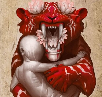 Abstract red tiger with flowers holding human form