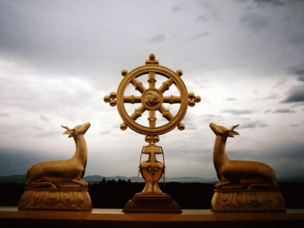 Wheel of Dharma statue