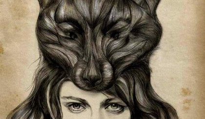 Drawing of girl with hairdo that forms a wolf's face