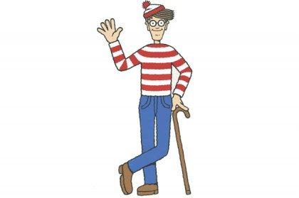 Character Waldo/Wally waving, with cane