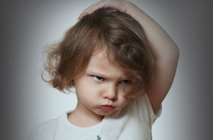 Toddler making an angry face
