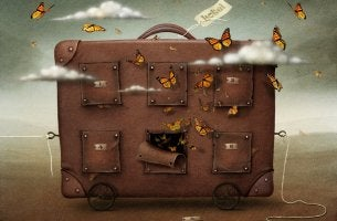 animated suitcase full of butterflies