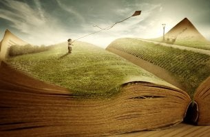 Open book imagined as a landscape