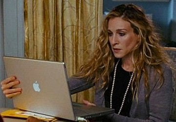 Carrie on her laptop
