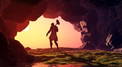 Caveman leaving his cave