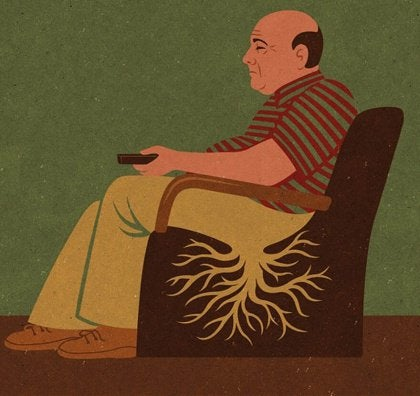 Abstract drawing man sitting in chair growing roots