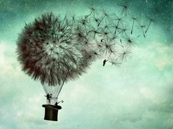 Hot air balloon as a dandelion blowing away with a man blowing away too