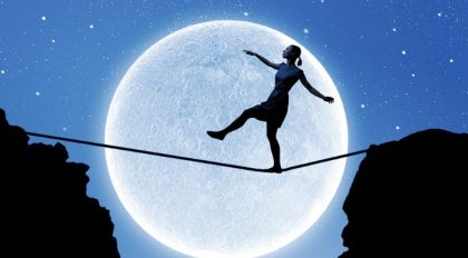 woman on a tightrope