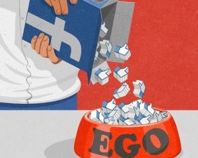 "Abstract image person dumping ""like"" symbols into a bowl labeled ""Ego"""
