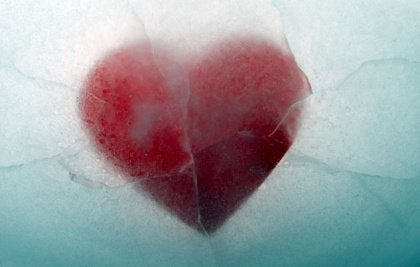 Heart shape in ice