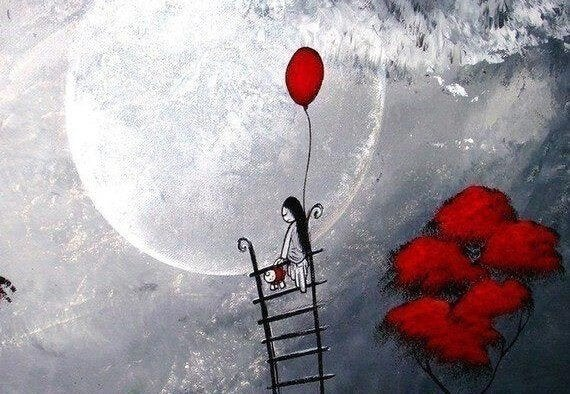 Girl on a ladder to the moon