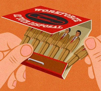 Abstract image matchbook with little men instead of matches