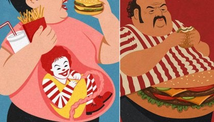 Two images abstract drawings of people eating burgers