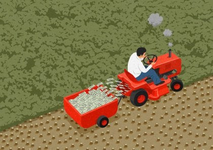 Abstract image man driving tractor harvesting money