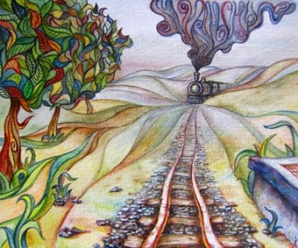 Abstract painting train coming through the hills