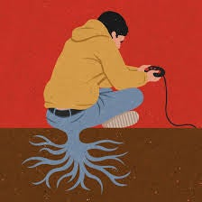 Abstract drawing boy sitting playing video game growing roots