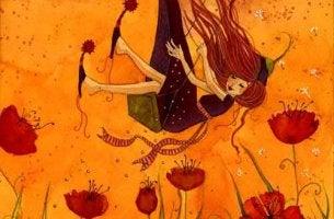 Girl Swinging in Flower Field