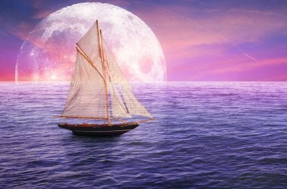 Boat Sailing, Full Moon
