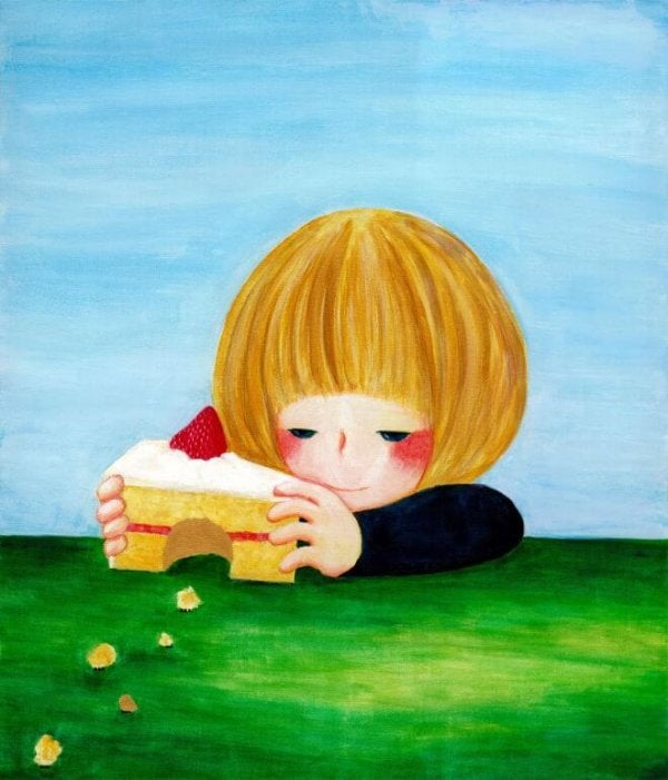 drawing kid and cake