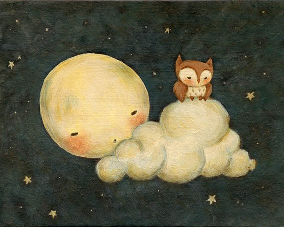 drawing- moon and owl