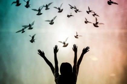 four arms releasing birds