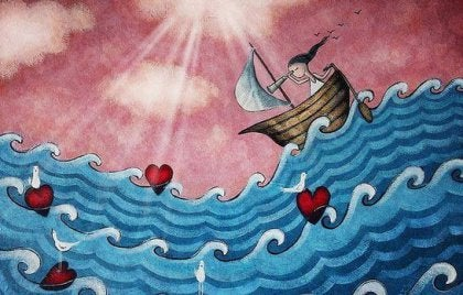 girl in boat hearts art