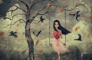 girl on swing heart art