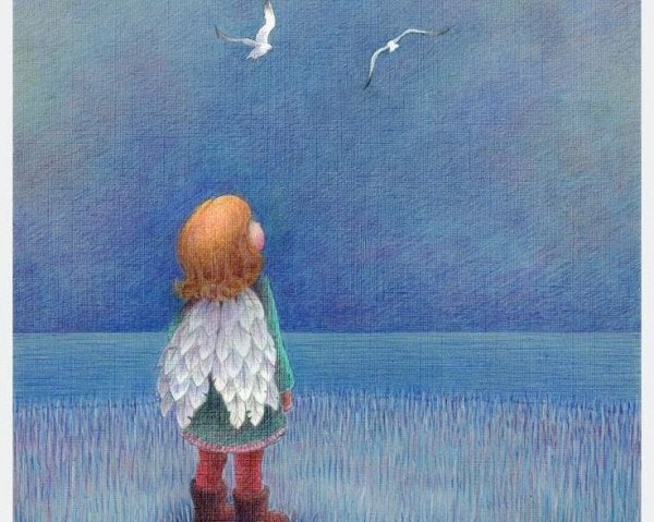 girl with wings looking at birds
