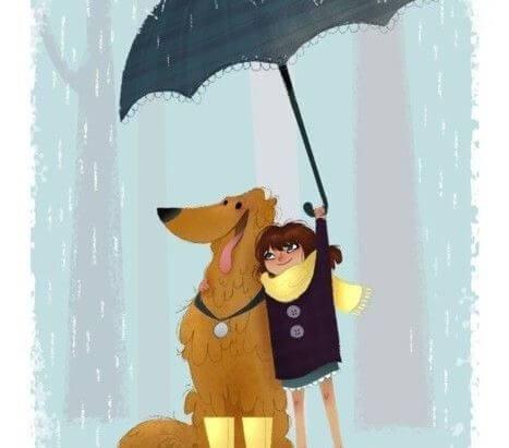 Tyttö ja koira sateenvarjon alla