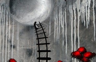abstract drawing girl climbing ladder towards moon and balloon