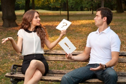 Questioning Woman, Exclaiming Man