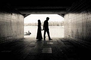 Silhouette of Couple, Back to Back