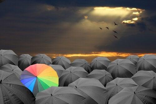 Erilainen sateenvarjo