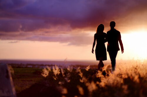 Silhouette, Couple at Sundown