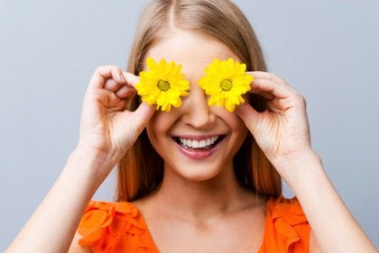 Woman with Flowers over Eyes