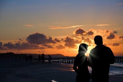 Couple at Sundown over Beach