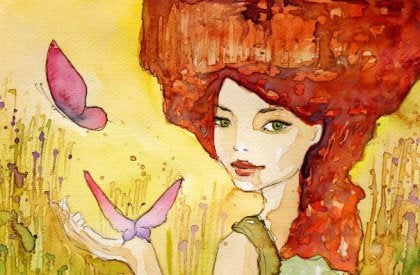 watercolor girl with butterfly