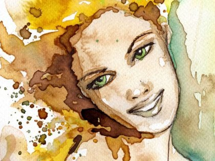 watercolor- woman smiling
