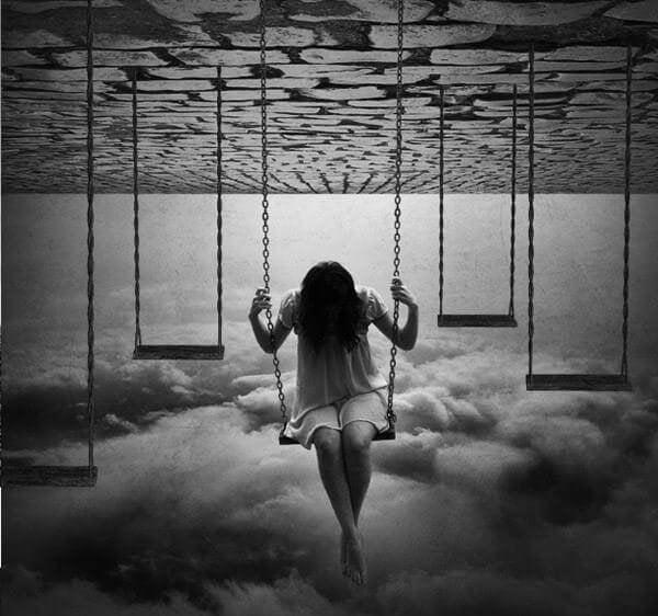 Woman Swinging, Head Down