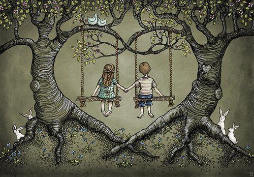 Couple Swinging, Tree Heart