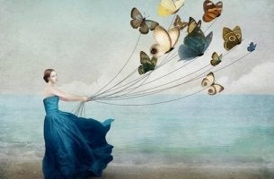 girl with butterflies letting go