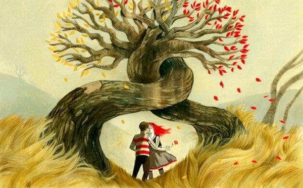 couple in the roots of a tree