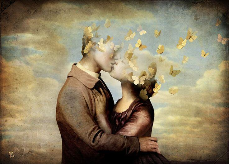 couple kissing butterflies