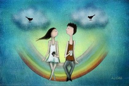 Hullu rakkaus tyttö ja poika istuvat yhdessä