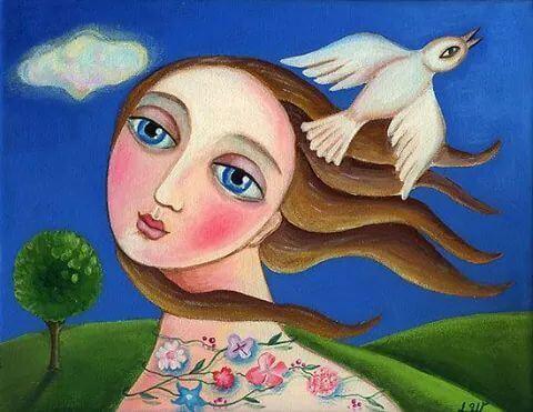 drawing- girl and bird
