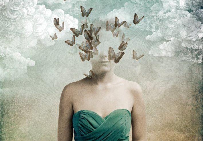 face turns into butterflies