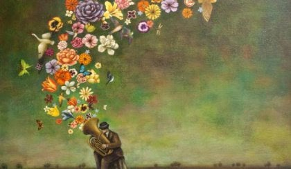 flowers coming out of tuba